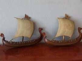 CLR09 Two Syroco Inc. Vintage Viking Ship Wallhangings