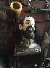 Jesus wood-carved bust