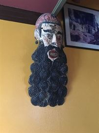 Mexican wood carved, painted figural mask