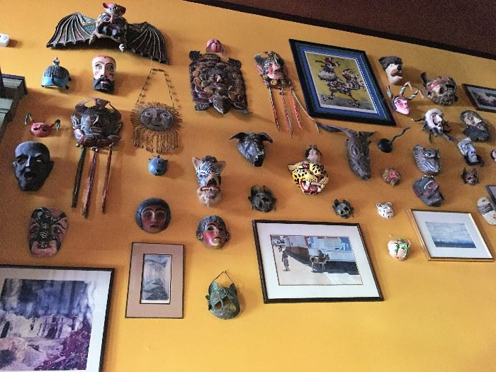 Lots of unique Mexican/Hispanic carved masks