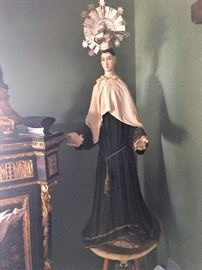 "Saint Mary of Victory - carved figural saint, hand-carved, painted, jointed arms. Approx. 40"" tall."