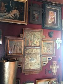 Religious art, paintings depicting life and death of Jesus.