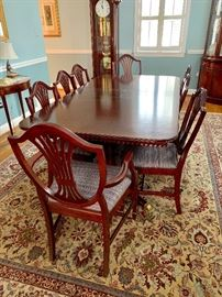 Double pedestal dining room table with 8 chairs - RUG NOT FOR SALE