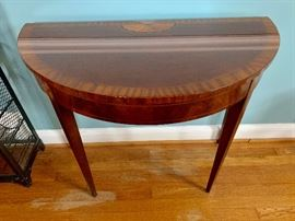Drexel banded/inlay half-moon table