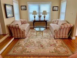 "Aubusson rug ( 10'2"" by 7'8"") with twin sofas and more"