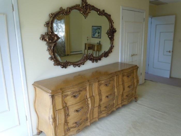 Antique mirror and dresser