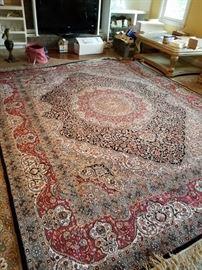 Beautiful silk 10'4x8.4 royal bijar rug