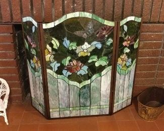 Tiffany style fireplace screen