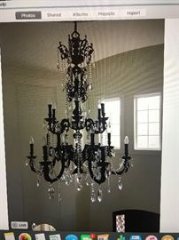 Crystal Rama Brass Chandelier painted blk.  All brass extremely heavy one of a kind.  $1,500.
