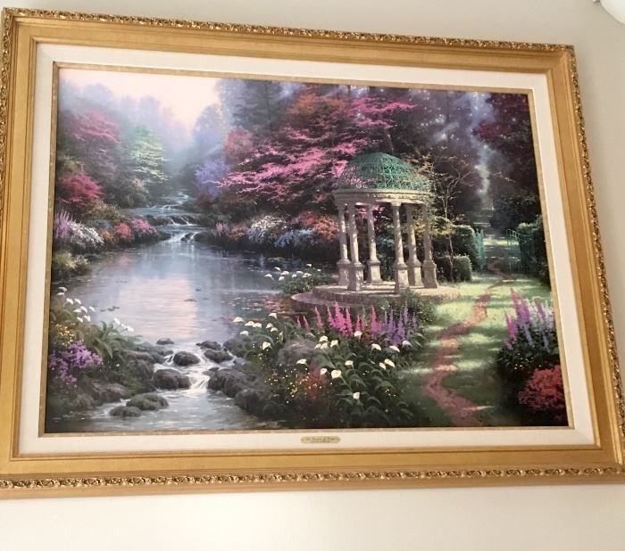 """Most Well Known TK Painting """"Garden of Prayer.""""  Sold out at Publisher. Litho on Canvas, standard number, excellent condition. $2,899"""