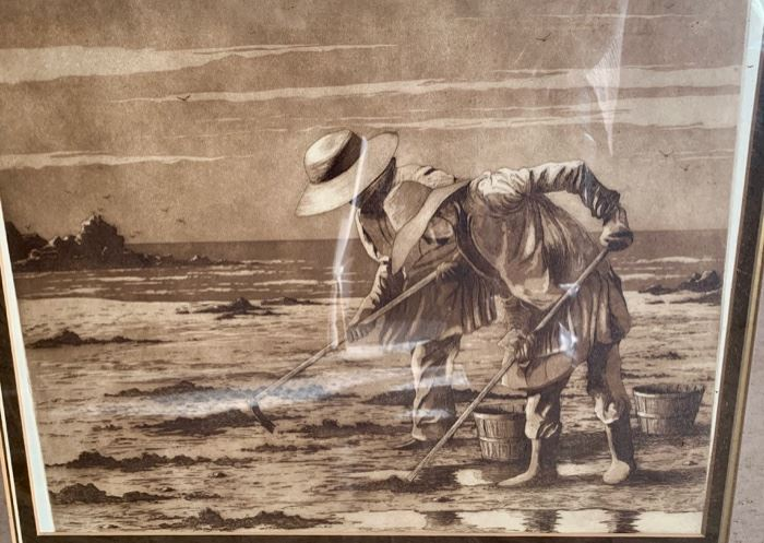 """3. Sepia Tone Framed Print of Two People at the Shoreline (28"""" x 25"""")"""