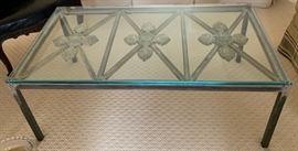 "11. Custom Antique Iron Gate & Glass Top Coffee Table (46"" x 25"" x 18"")"