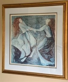 """17. Barbara A. Wood Framed Lithograph 227/975 of Two Women Dancing (36"""" x 36"""")"""