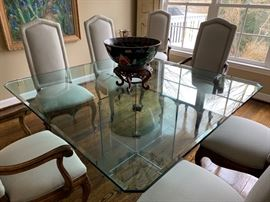 98. 5' Square Glass Pedestal Dining Table