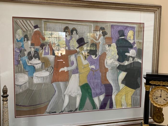 """112. Party Scene Lithograph 3/250 by Salter (50"""" x 39"""")"""