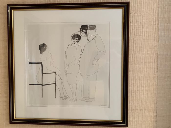 """58. Pen & Ink Drawing of Four People Lithograph 10/257 by Sohnevew (29"""" x 29"""")"""