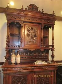 FRENCH COURT CABINET INTRICATELY CARVED, 2 X 5.6 X8