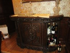 BAR CABINET WITH DETAILED CARVINGS