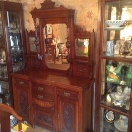 Antique Victorian Wood Cabinet with Mirror