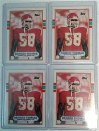 Four Mint 1989 Topps Derrick Thomas Rookie Footbal ...
