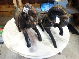 2 antique wood horses leather cheeta bird