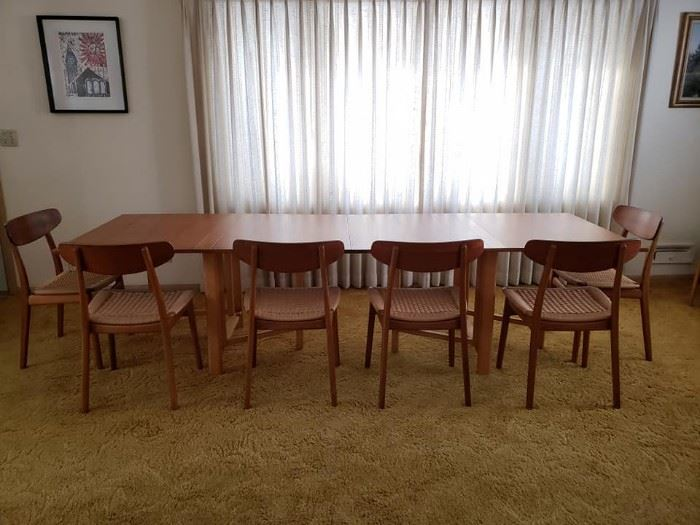 """Bruno Mathsson """"Maria"""" table being sold together with 6 Bruno Hansen chairs. Auction bids for this item being taken from 8am-5pm Saturday 3/2."""