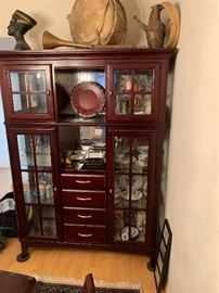 Contemporary Dark Wood China Cabinet Display Case	76x56x16.5in	HxWxD