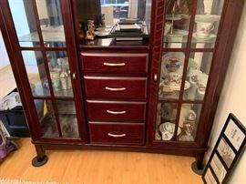 Contemporary Dark Wood China Cabinet Display Case76x56x16.5inHxWxD