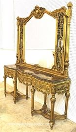Ornate Highly Carved Marble Top 3 Drawer Hall Console with Mirror