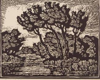 Lot 4: Birger Sandzén 'Brook with Cottonwoods' Signed Linocut