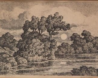Lot 5: Birger Sandzén 'Early Moon' Signed Lithograph