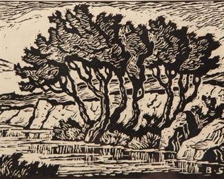 Lot 6: Birger Sandzén 'Kansas Creek' Signed Woodcut