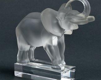 Lot 7: Lalique Crystal Elephant Sculpture