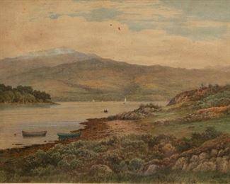 Lot 11: John Nesbitt 'Loch Etive' 1895 Watercolor