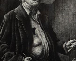 Lot 18: Thomas Hart Benton 'Self-Portrait' Signed Lithograph