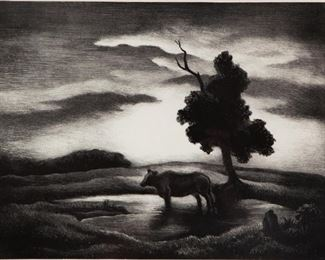 Lot 20: Thomas Hart Benton 'Sunset' Signed Lithograph