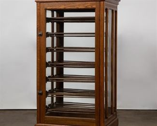 Lot 24: Oak & Glass Country Store Ribbon Cabinet