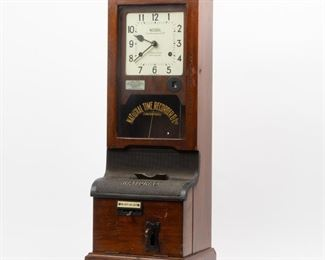 Lot 25: National Time Recorder Antique English Time Clock