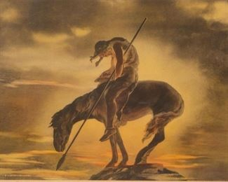 "Lot 29: James Earle Fraser Signed Litho ""End of the Trail"""