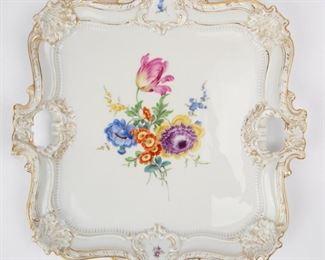 Lot 42: Large Meissen Porcelain Tray