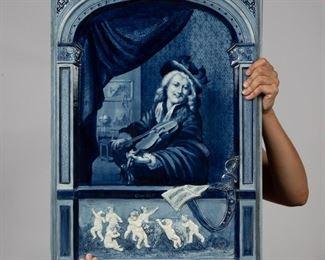 Lot 44: Remarkable Villeroy & Boch Delft Plaque after Dou
