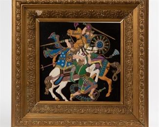 Lot 45: Porcelain Plaque With Persian Cavalry Scene