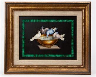 Lot 57: 19th c. Pietra Dura 'Doves of Pliny' Micromosaic