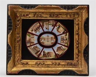 Lot 58: 19th c. Pietra Dura 'Nine Views of Rome' Micromosaic