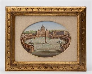 Lot 59: 19th c. Pietra Dura 'St. Peters Square' Micromosaic