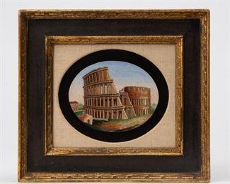 Lot 60: 19th c. Pietra Dura 'Colosseum' Grand Tour Micromosaic