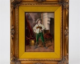 Lot 63: Finely Painted Glass Plaque After Meissonier
