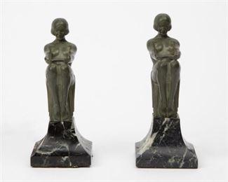 Lot 67: Max LeVerrier Pair of 'Enigme' Art Deco Lamps
