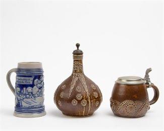 Lot 69: Merkelbach Stoneware Jug and Two Steins