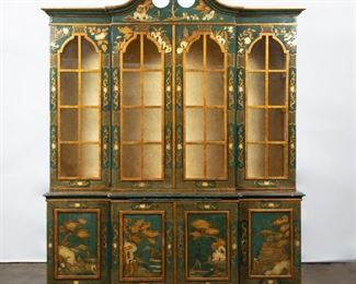 Lot 72: Trouvailles Hand-Painted Chinoiserie Breakfront, 1970s